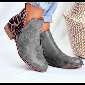 Gray Leopard Print Ankle Boot - Women